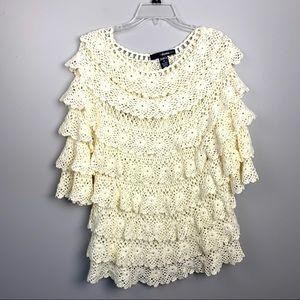 Ivory Crocheted Layered Ruffles Top Medium